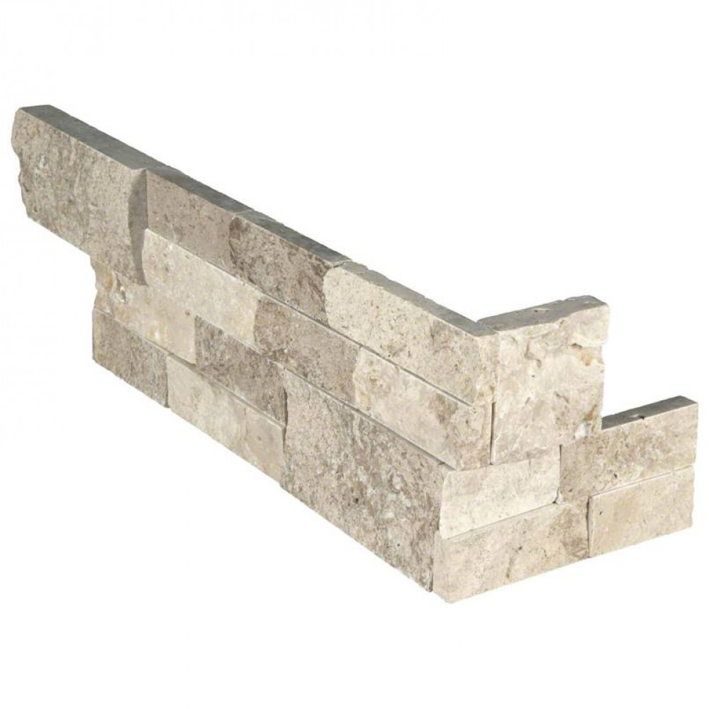 Roman Beige 6X18x6 Split Face Corner Ledger Panel