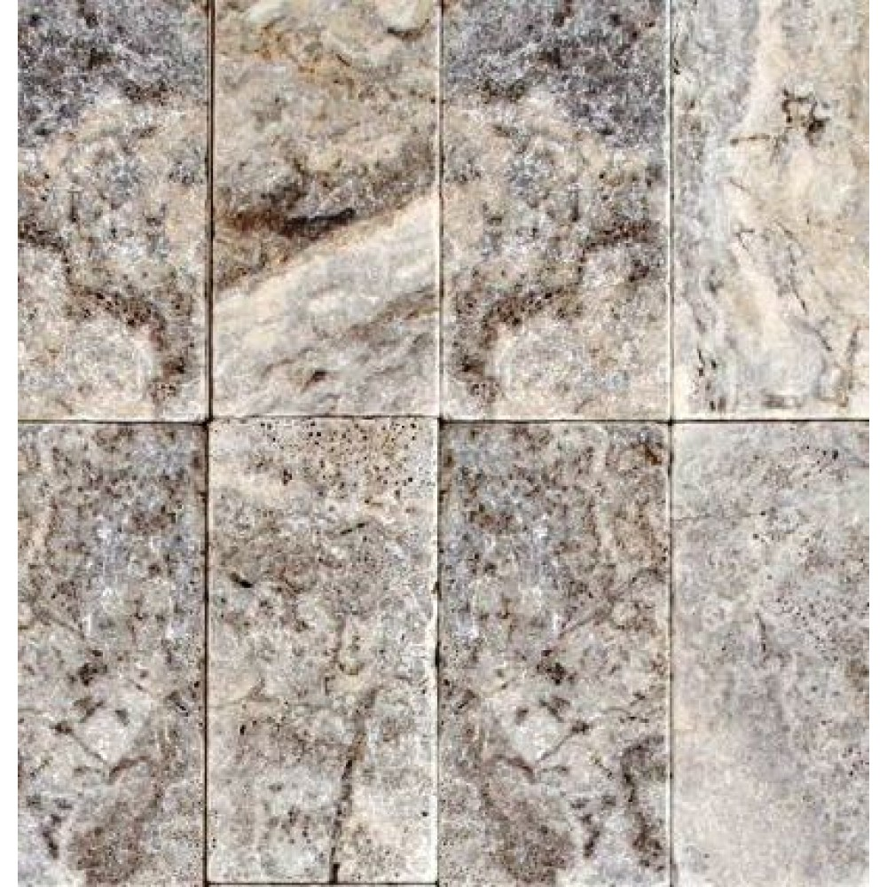 Silver Travertine 8X8 Honed Unfilled Tumbled