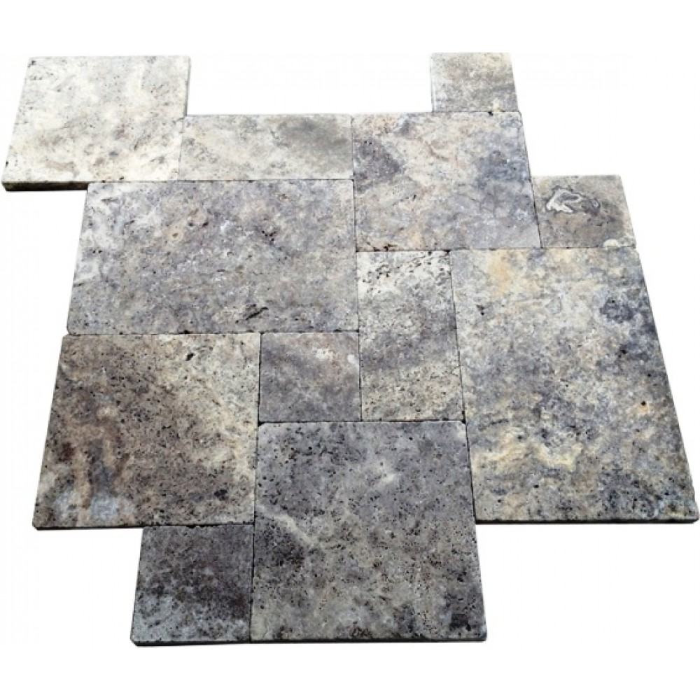 Silver Travertine French Pattern 16 Sft x 10 Kits Honed Unfilled Tumbled Paver