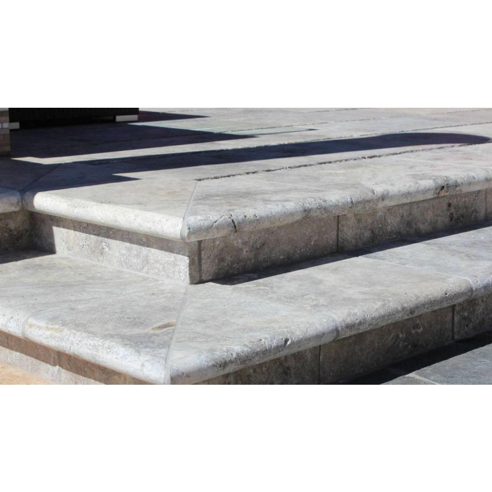 Silver Travertine 12X24X3 Tumbled Bullnose Pool Coping