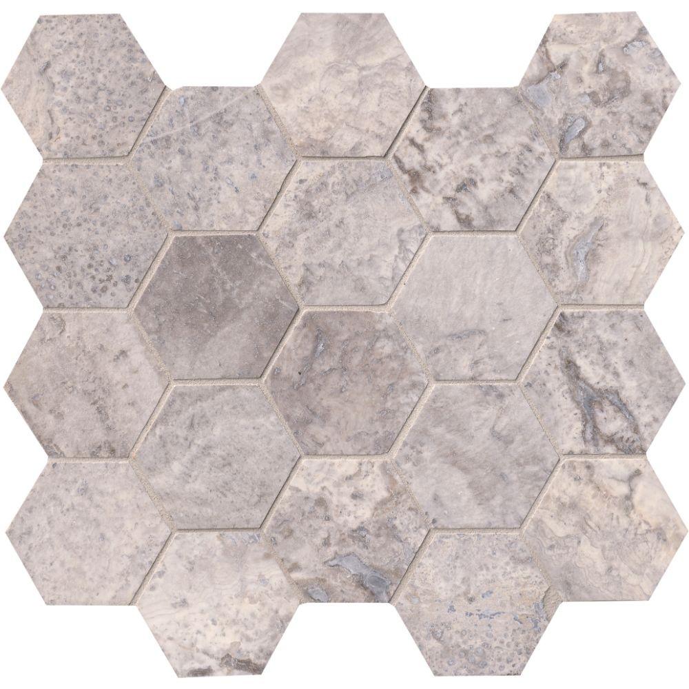 Silver Travertine 3x3 Honed Hexagon Mosaic