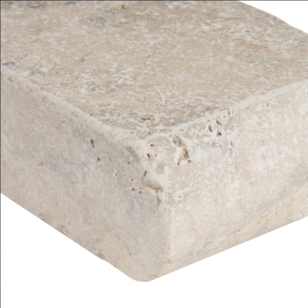 Silver Travertine 4X12 Honed Unfilled Tumbled One Short Side Bullnose Pool Coping