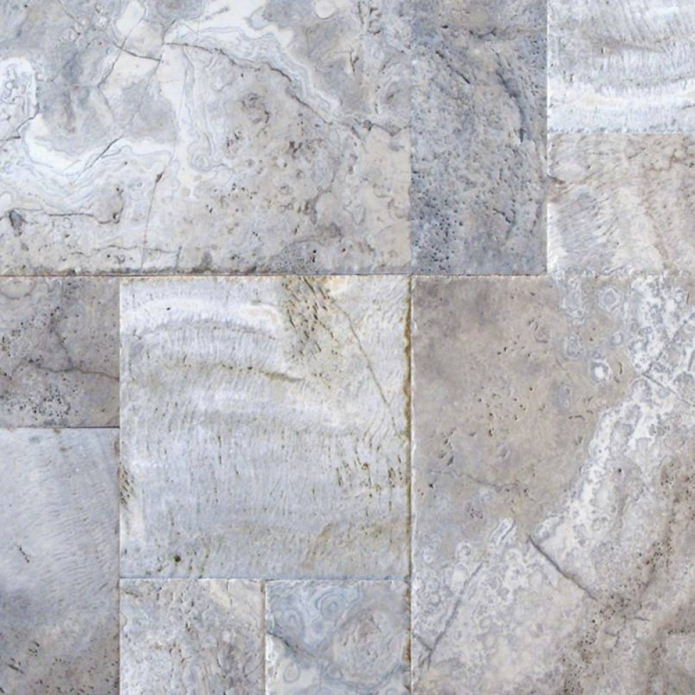 Silver Travertine French Pattern 16 Sft Honed Unfilled Chipped Brushed