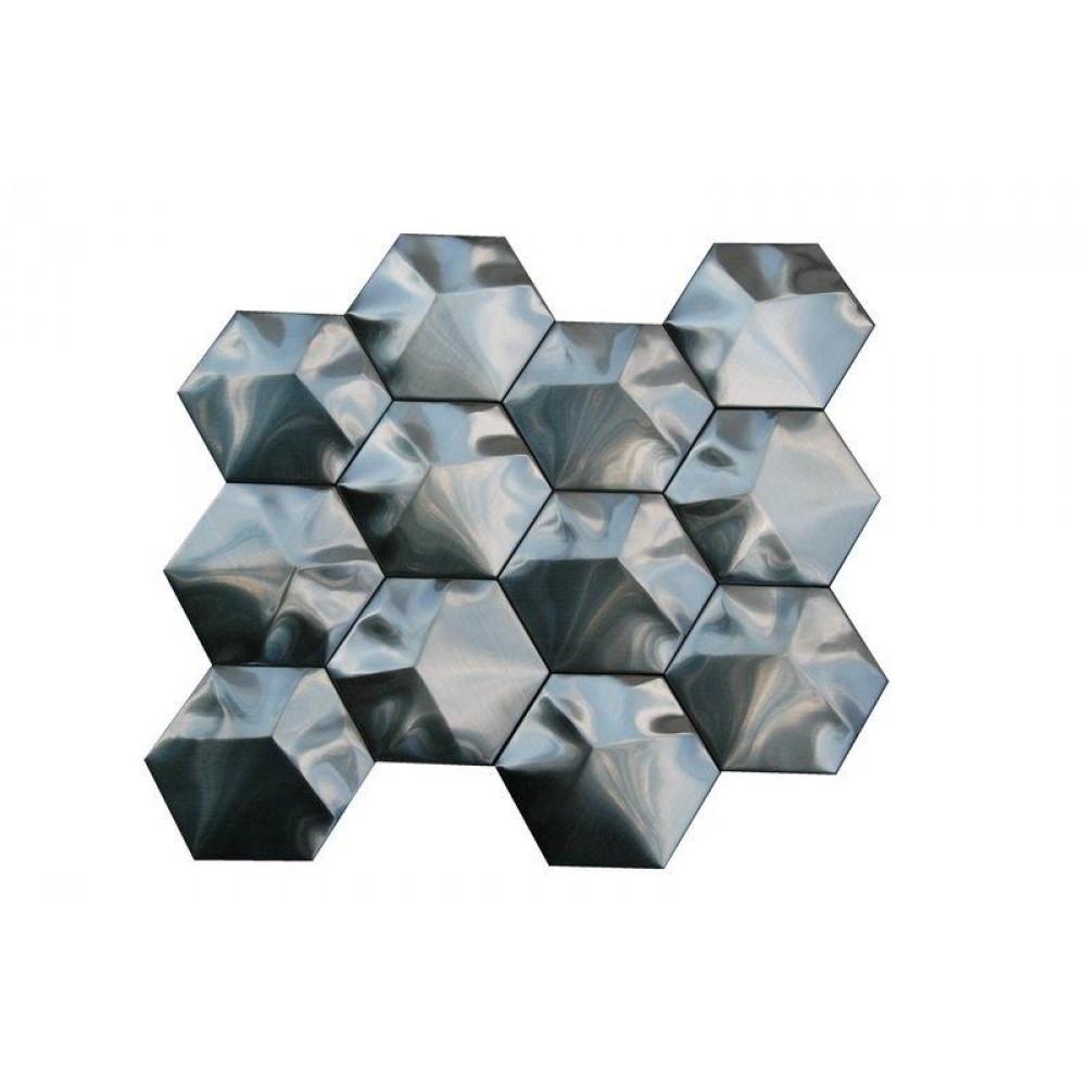 Stainless Steel 3D Interlocking 3X3 Hexagon Mosaic