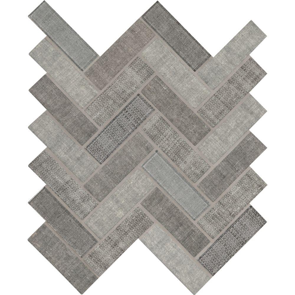 Textalia Herringbone Revaso Recycled Glass Backsplash Tile