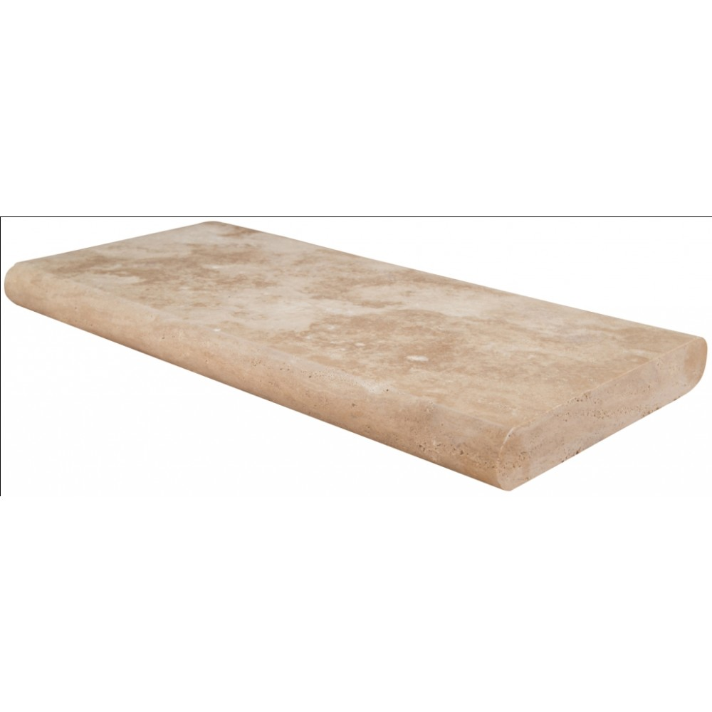 Tuscany Beige 16x24 Honed Unfilled Brushed Double Bullnose Pool Coping