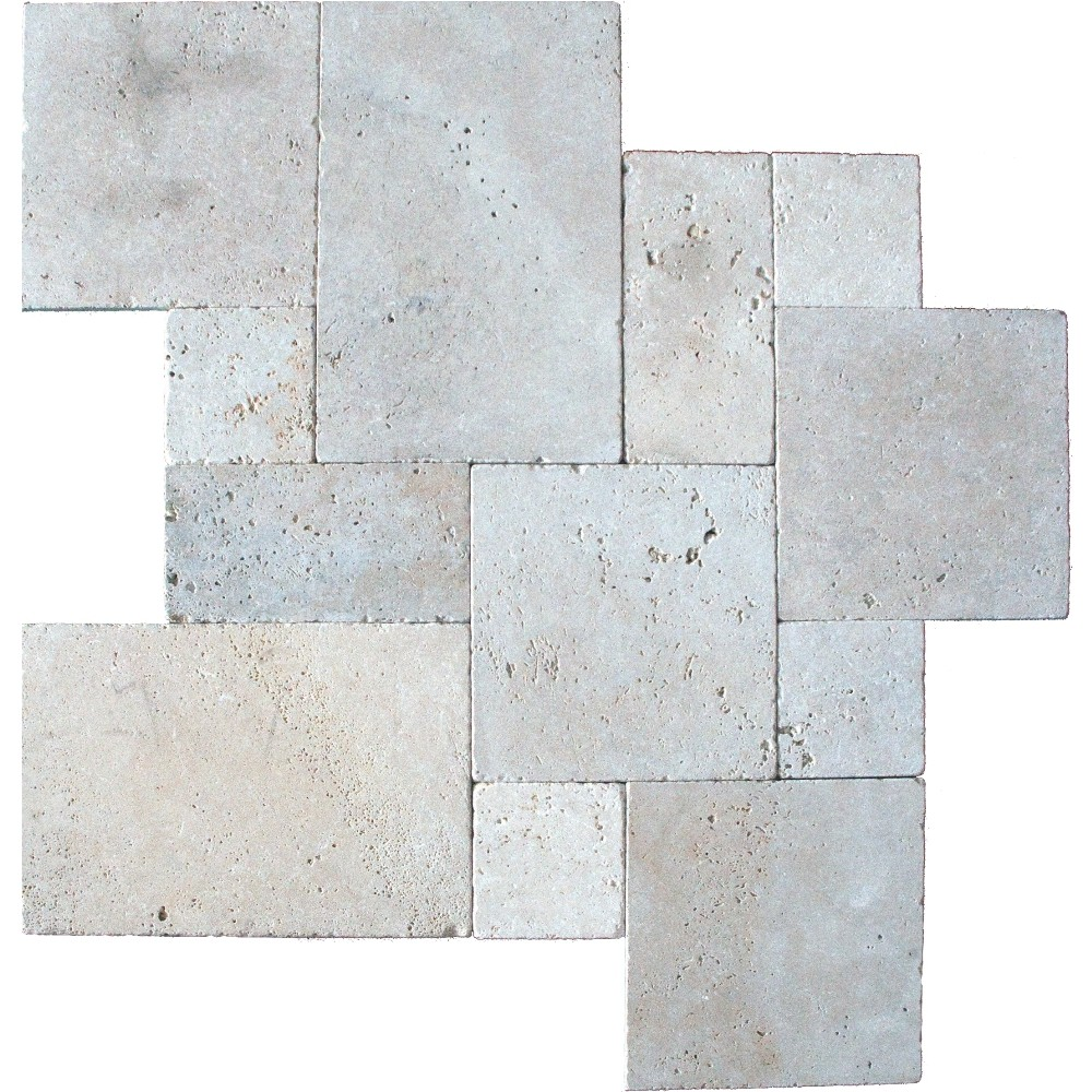 Tuscany Beige French Pattern 16 Sft x 10 Kits Honed Unfilled Tumbled Paver