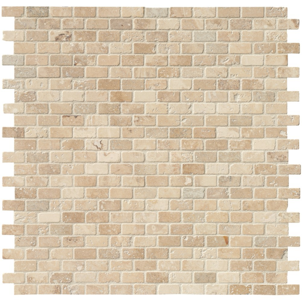Tuscany Classic 1x2 Brick Tumbled Travertine Mosaic