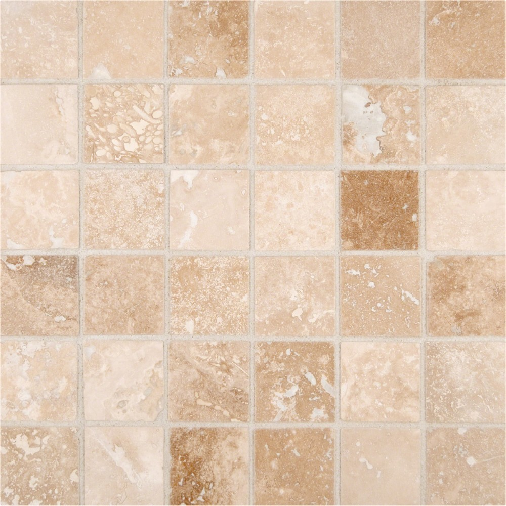 Tuscany Ivory Honed And Filled 2x2 Travertine Mosaic