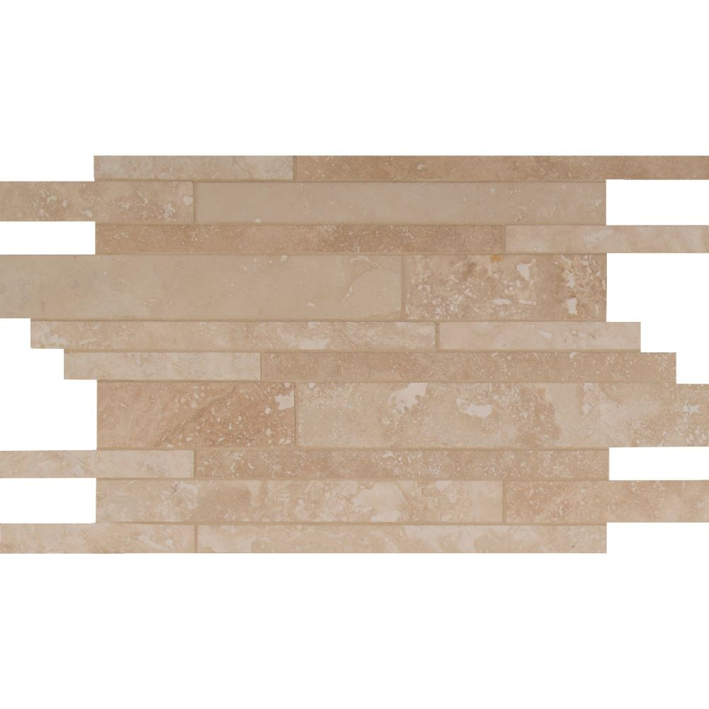 - Tuscany Ivory Interlocking Pattern 12x18 Honed Travertine Mosaic