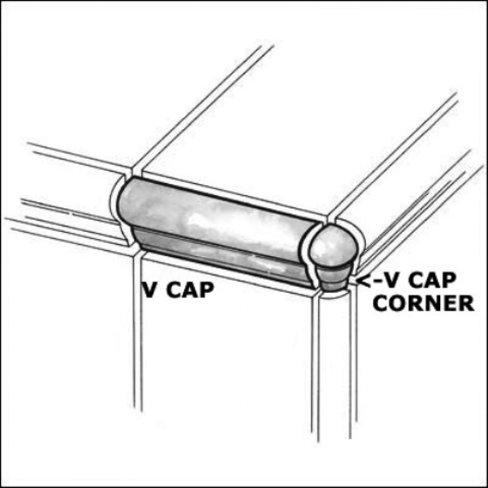 Travertino Walnut 1x2.5 V-Cap Corner Glazed