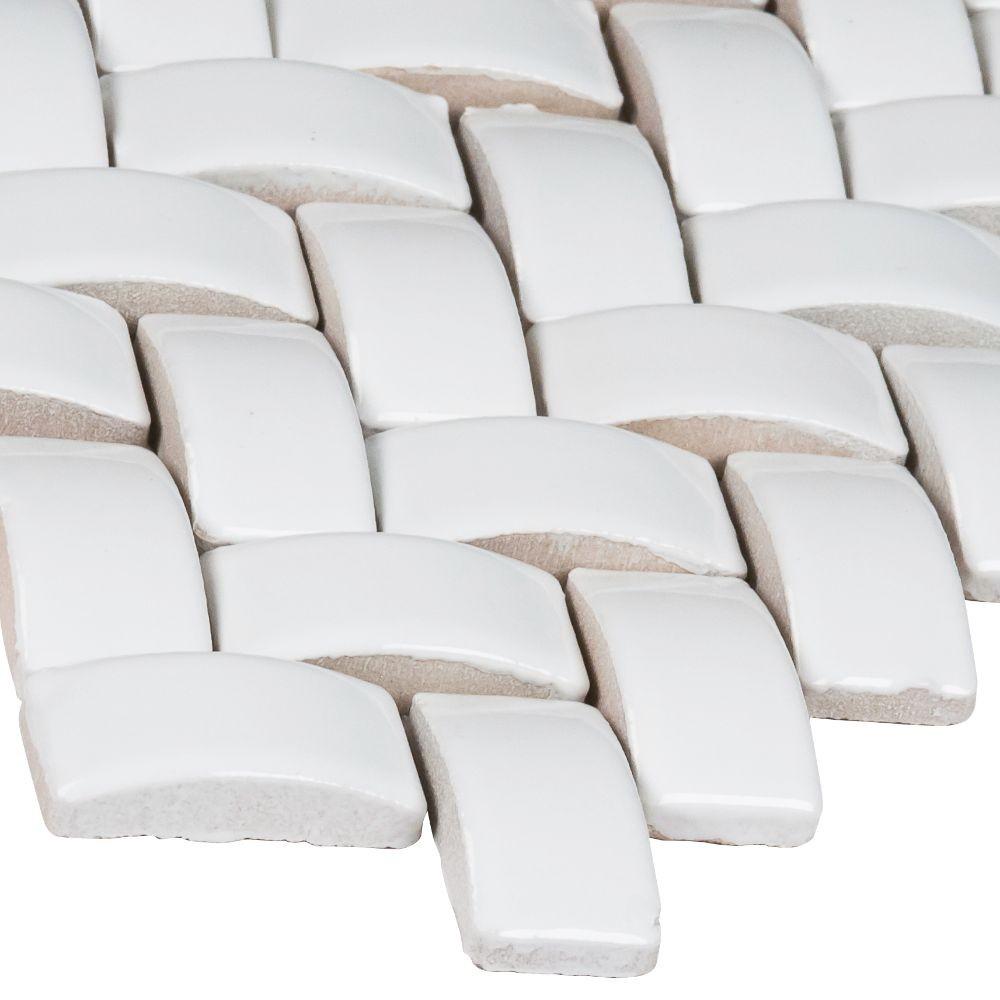 Whisper White 12X12 Glossy Arched Herringbone Mosaic
