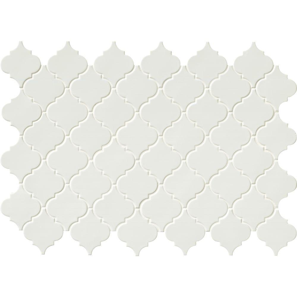 Whisper White Glossy Arabesque Mosaic
