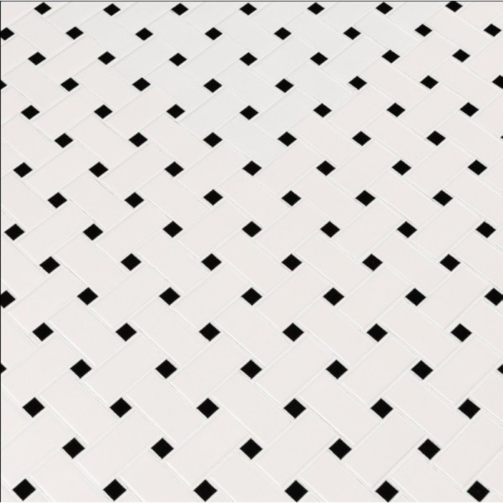 Domino White And Black Basketwave Matte Mosaic