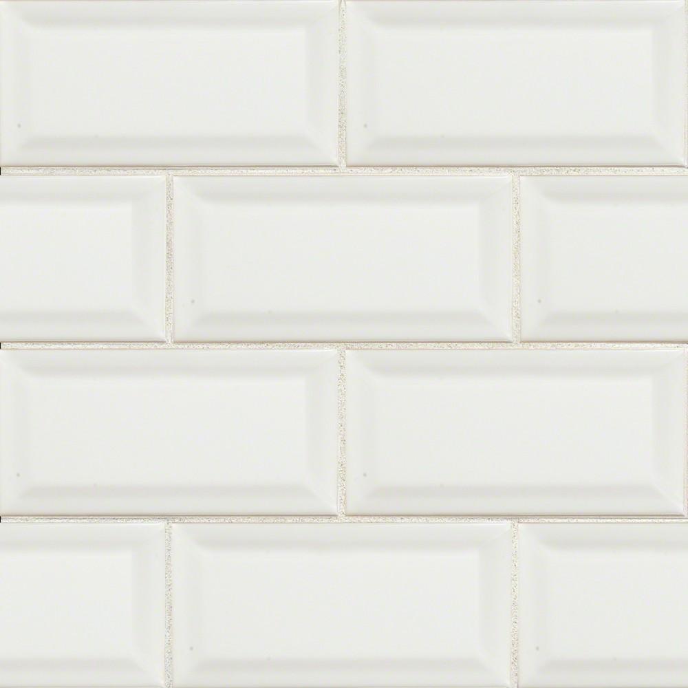 White Glossy 3X6 Beveled Glazed Tile