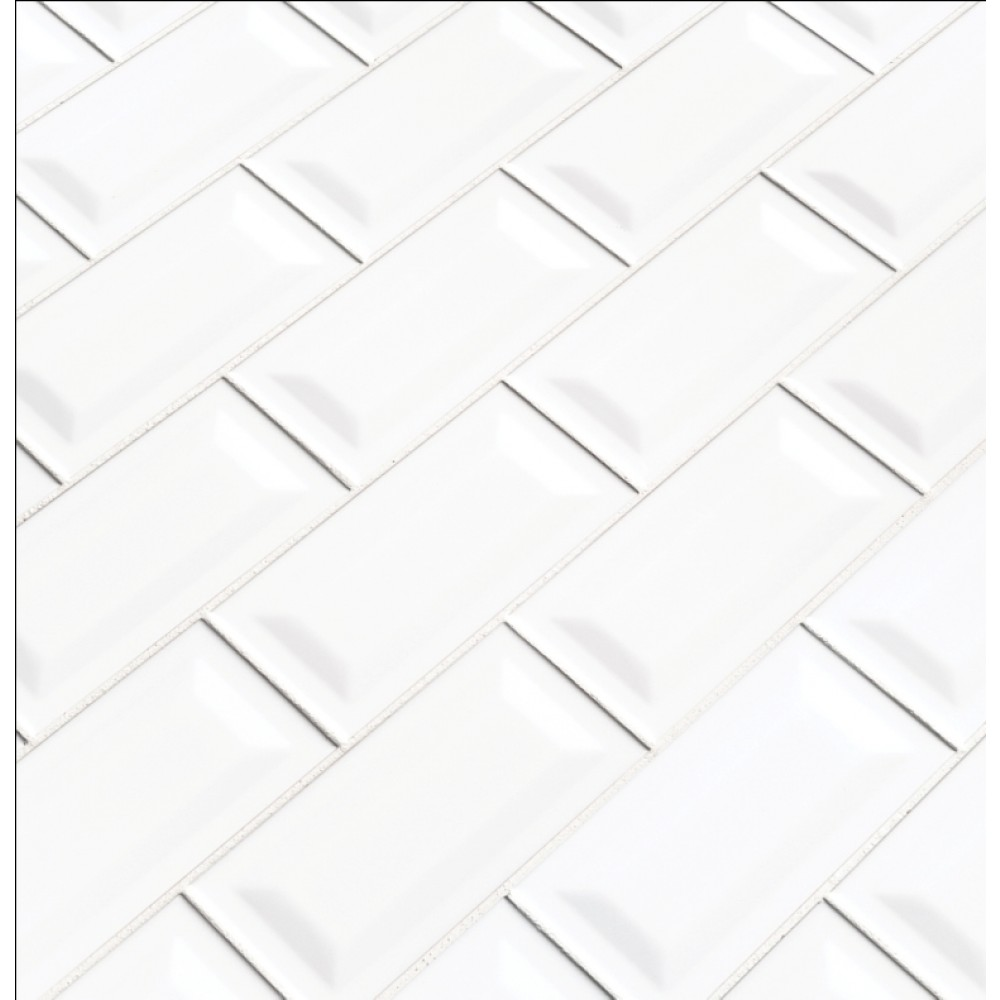 White Glossy 3X6 Inverted Beveled Subway Tile