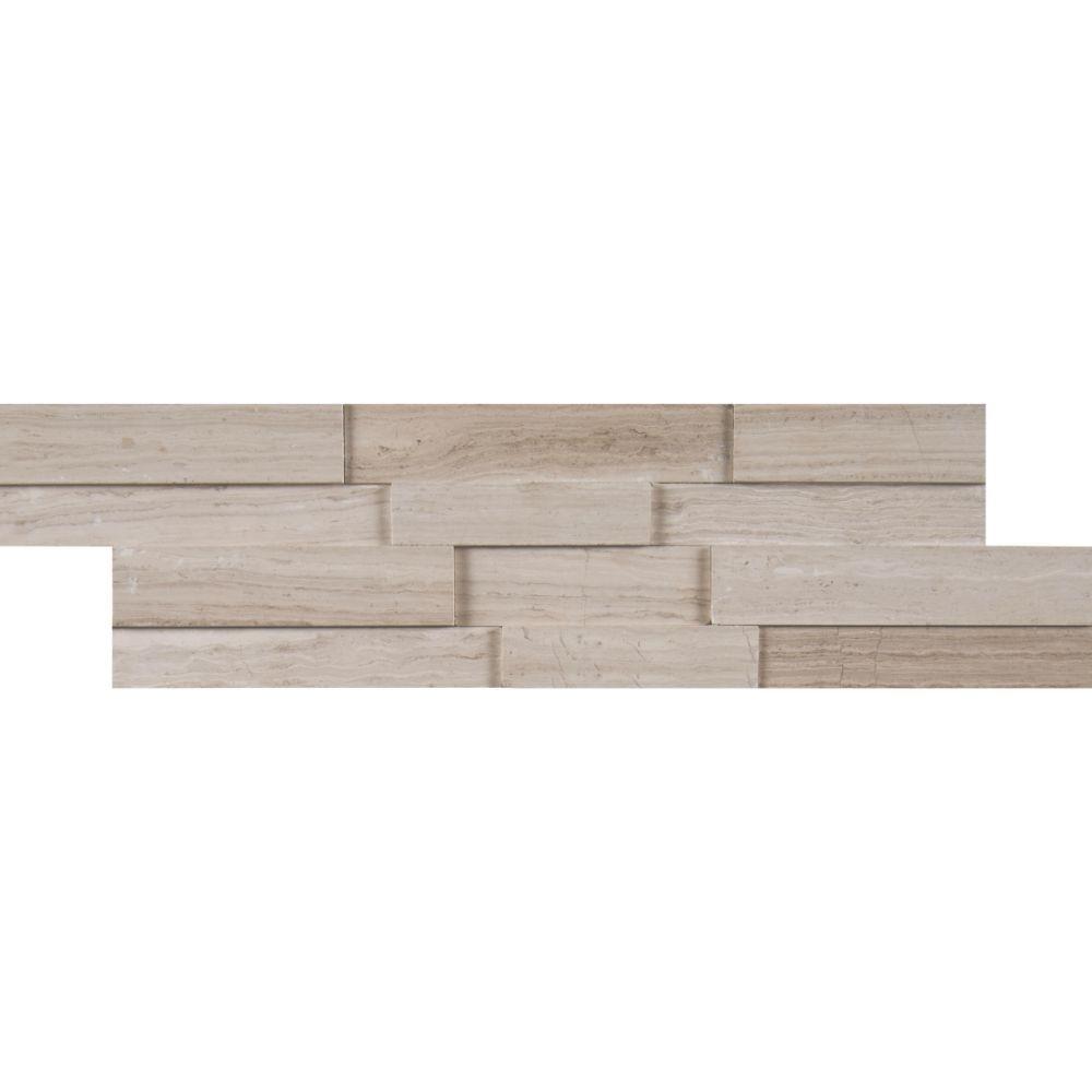 White Oak 4.5x16 3D Honed Mini Ledger Panel