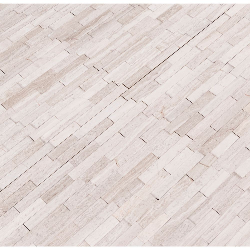 White Quarry Interlocking 3D Peel and Stick Wall Tile