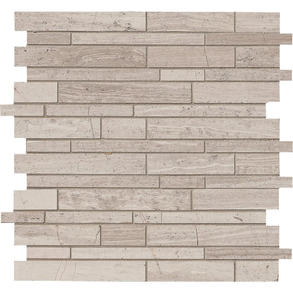 White Quarry Interlocking Pattern Honed Mosaic