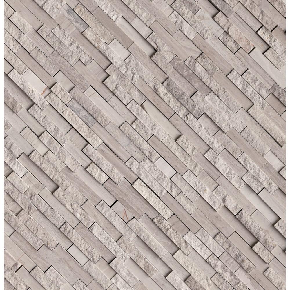 White Quarry Splitface Interlocking Pattern Marble Mosaic