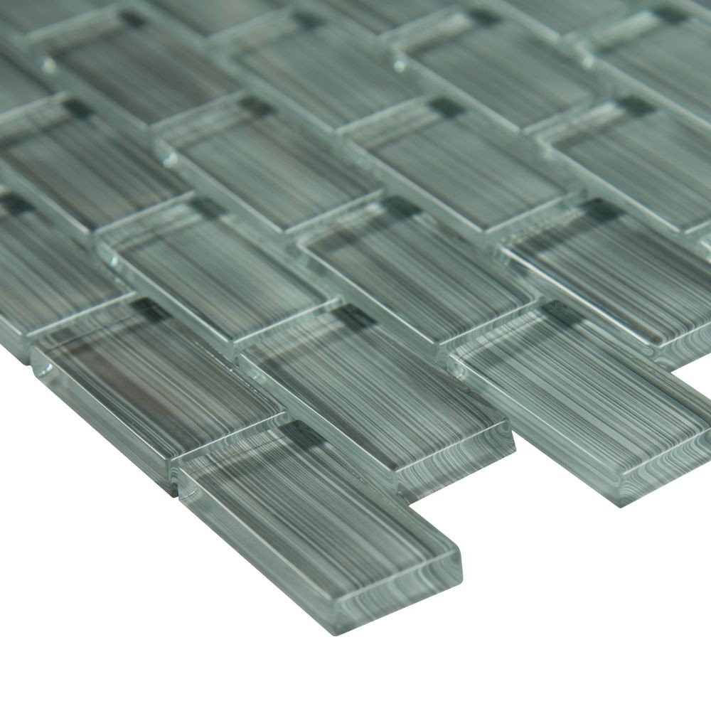 Winter Grey Brick 1x2 Brick Glass Mosaic