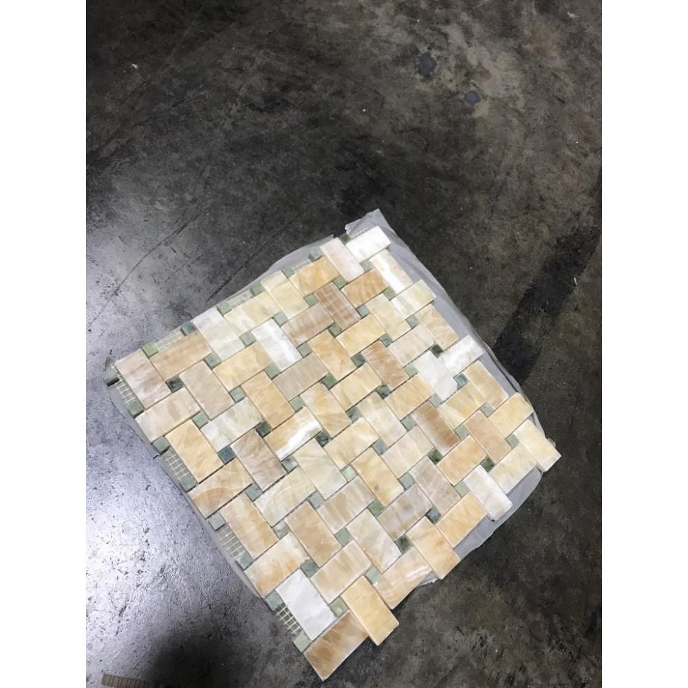 Yellow Onyx Basketweave 12x12 Polished