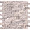 Silver Travertine 1x2 Split Face Travertine Mosaic