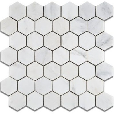 Oriental White 2x2 Hexagon Honed Mosaic