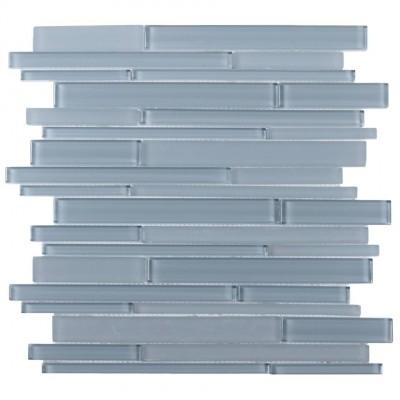 Azure Glass Mix 12x12 Random Strip Mosaic