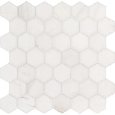 "Italian Carrara White 2"" Hexagon Honed Mosaic"
