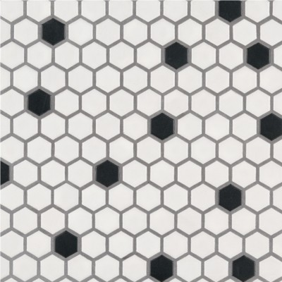 White And Black Basketwave Matte Mosaic
