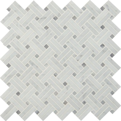 Carrara White Basketweave Pattern Polished Mosaic