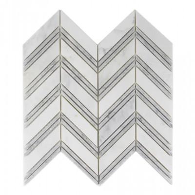 Oriental White 12x12 Polished Basketweave Mosaic