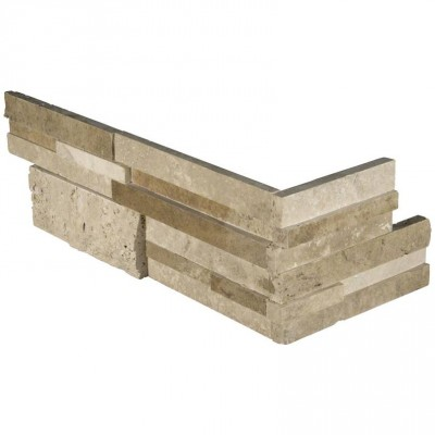 Silver Travertine 6X18 Corner L Panel