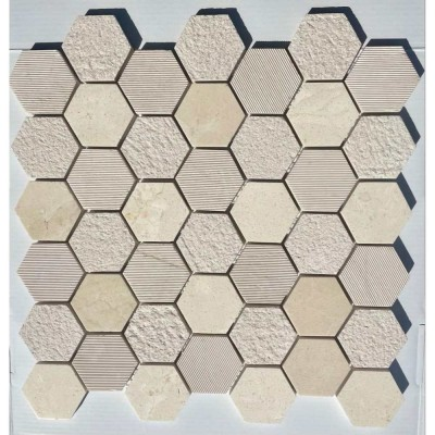 Crema Marfil 2X2 Hexagon Multi Finish Mosaic Tile