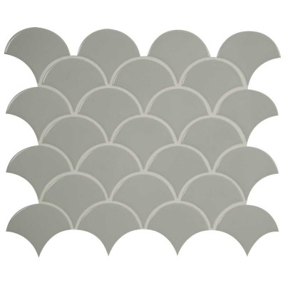Domino Gray Glossy Fish Scale Porcelain Mosaic 6mm Tile