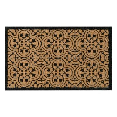 Encaustic Black Natural Coir 18X30 Door Mat