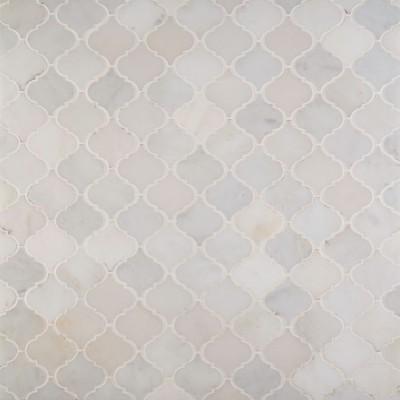 Greecian White Arabesque Pattern Polished Marble Mosaic