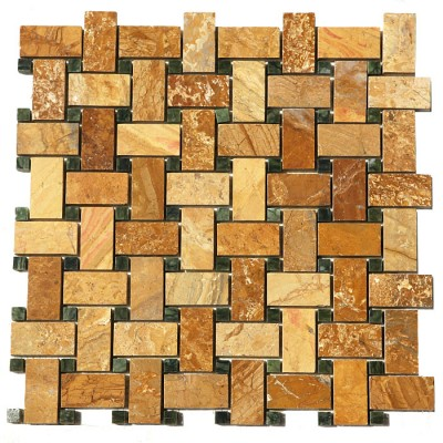Autumn Gold Basket Weave Interlocking 12x12 Polished