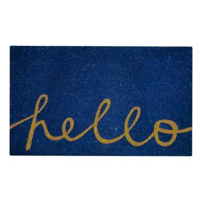 Hello Blue Natural Coir 18X30 Door Mat