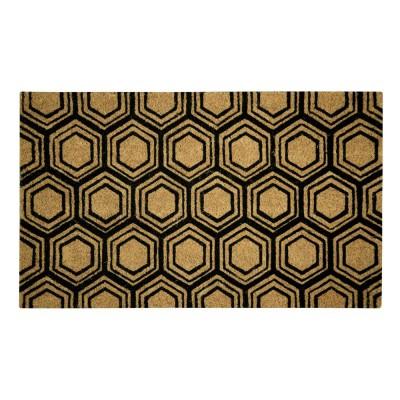 Hexagon Black Natural Coir 22X36 Door Mat