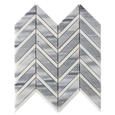Misty Gray 12x11Herringbone Glass Mosaic
