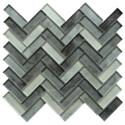 Misty Gray 12x11Herringbone Glass Mosaic