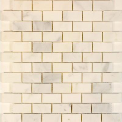 Oriental White Brick Pattern Statuary 1x2 Polished Mosiac