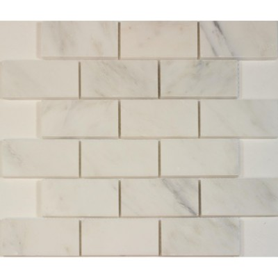 Oriental White 2x4 Brick Polished Marble Mosaic