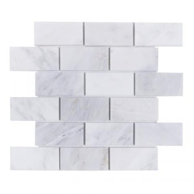Oriental White 3x6 Brushed Marble Tile