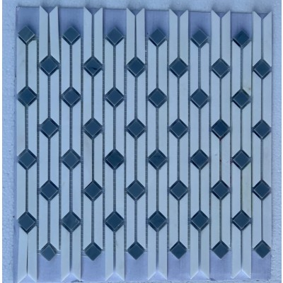 Ribbon Thassos White 14X17 Polished Waterjet Mosaic