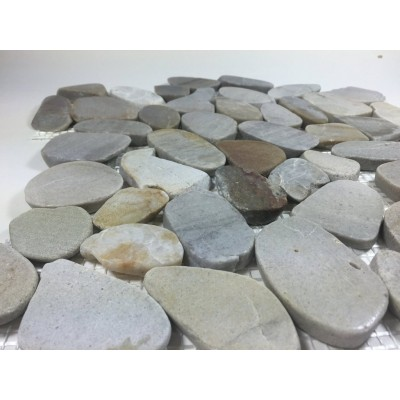 Sandy Beach Earth 12X12 Interlocking Flat Pebble Tile