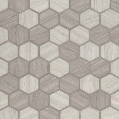 Silva Oak 2X2 Hexagon Recycled Glass Mosaic