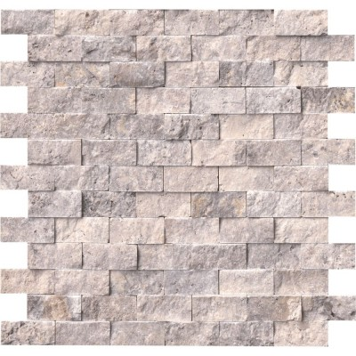 Silver Travertine 1x2 Split Face Mosaic